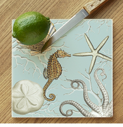 Seahorse & Creatures Glass Cutting Board