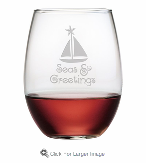 Seas & Greetings Stemless Wine - Click to enlarge