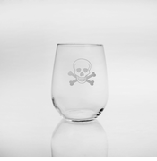 Skull & Cross Bones Stemless Wine Glasses
