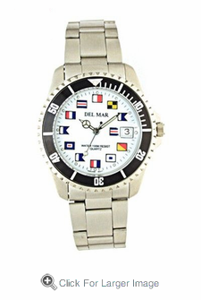 Stainless Steel Classic Nautical Flag Watch - Click to enlarge