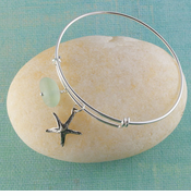 Starfish Seaglass Bangle Bracelet