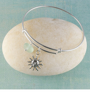 Sun Seaglass Bangle Bracelet