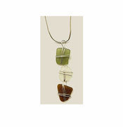 Sea Glass Three-Tiered Drop Pendant<br > Free Shipping!