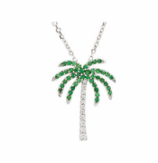 Tsavorite Garnet and Diamond Palm Tree Necklace