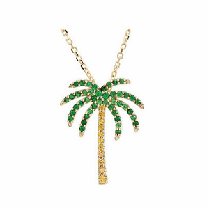 Tsavorite Garnet & Yellow Sapphire Palm Tree Necklace - Click to enlarge