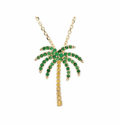 Tsavorite Garnet & Yellow Sapphire Palm Tree Necklace