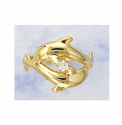 twin dolphin diamond ring - Dolphin Wedding Rings