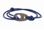 Weathered Silver Charger Marine Cord Bracelet