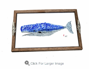 Gyotaku Whale Driftwood Tray - Click to enlarge