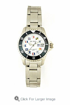 Women's Stainless Steel Classic Nautical Flag Watch - Click to enlarge