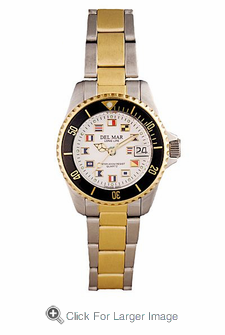 Women's Two  Tone Classic Nautical Flag Watch - Click to enlarge