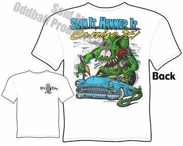 Rat Fink T Shirt Big Daddy T Ed Roth Tee 54 Chevy Slam It Hammer It