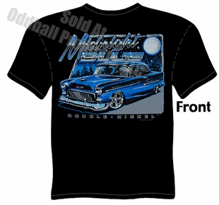 Classic Cars - Midnight Blue 1955 Chevy Black T-shirt