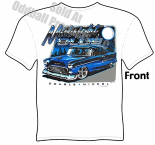 Classic Cars - Midnight Blue 1955 Chevy White T-shirt