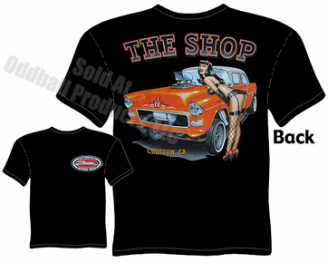 Hot Rods - 1955 Chevy Gasser Pinup Girl Black T-shirt