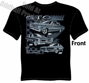 Muscle Cars - Pontiac 64, 66, 69 GTO Black T shirt