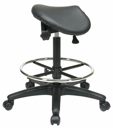 Saddle Seat Backless Drafting Stool With 25 35 Inch Seat