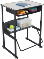"AlphaBetter� Desk with Book Box Premium Top 28"" x 20"" Gray [1204GR]"