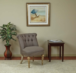 Aubrey Tufted Side Chair Klein Otter Fabric Brushed Legs
