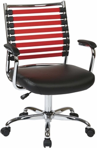 Ave Six Randal Office Chair Black Fabric & Red Elastic Straps [RND26-RD]