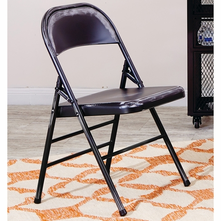 Bristow Metal Folding Chairs, Antique Black Distressed Set Of 4  [BRW831A4 AB]
