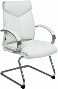 Pro Line II™ Contemporary Mid Back White Leather Guest Chair [7275]