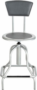Diesel Stool High Base with Back Steel Silver [6664SL]