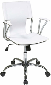 Dorado Office Chair in White Vinyl and Chrome Finish [DOR26-WH]