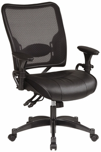 Space Seating® Ergonomic Mesh Desk Chair With Leather Seat [6876]