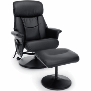 Essentials by OFM Heated Shiatsu Leather Recliner & Ottoman, Black [ESS-7050M]