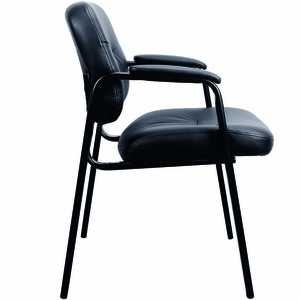 Essentials by OFM Black Leather Executive Side Chair, Padded Arms [ESS-9010]
