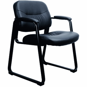 Essentials By OFM Leather Executive Sled Base Chair, Padded Arms [ESS 9015]
