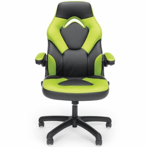 Essentials by OFM Racing Style Green Mesh Leather Gaming Chair [ESS-3085-GRN]