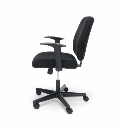 Essentials Swivel Upholstered Task Chair with Arms, Black [ESS-3070]