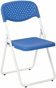 Folding Chair with Blue Plastic Seat and Back and White Frame 4-Pack [FC8000NW-7]