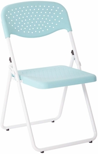 Folding Chair with Mint Plastic Seat and Back and White Frame 4-Pack [FC8000NW-16]