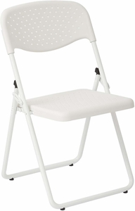 Folding Chair with White Plastic Seat and Back and White Frame 4-Pack [FC8000NW-11]