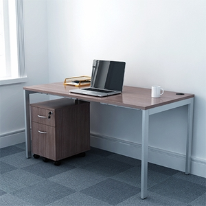 Lancata 60 X 30 Desk With Gray Steel Legs Walnut Lcd6030wl
