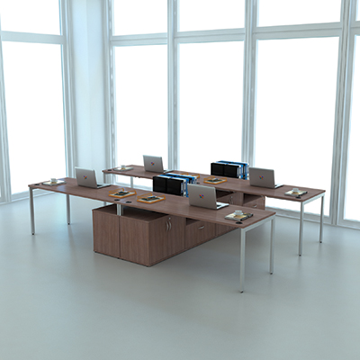 Lancata 72 X 30 Desk With Gray Steel Legs Walnut Lcd7230wl