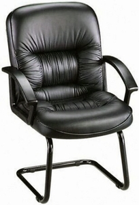 Lorell Tufted Leather Office Guest Chair 60114