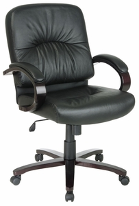 Work Smart Mahogany Pillow Back Eco-Leather Desk Chair [WD5331]