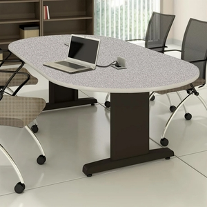 Mayline X Racetrack Conference Table Gray Nebula RVCGBLK - 72 conference table