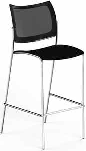 Mayline Escalate Mesh / Fabric Stacking Chair Set of 4 [EMC25MBLK]