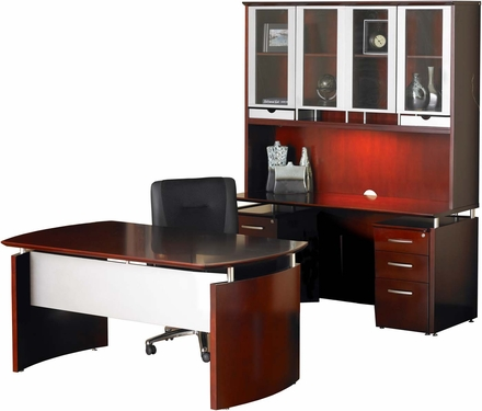 Mayline Napoli Office Desk Set Sierra Cherry Veneer