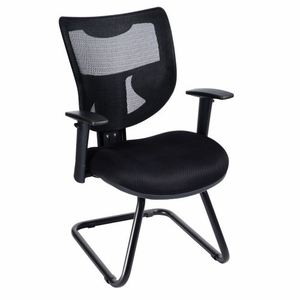 Mesh Back Guest Chair Sled Base [585-BLACK]