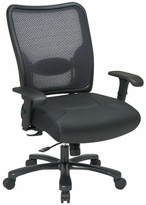 Space Seating Mesh Back Leather Big and Tall Chair [75-47A773]