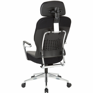 Office Star Bonded Leather Managers Chair with Headrest in Black [32-E33P91A7HL]