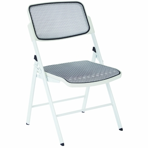 Office Star 2 Modern White Fabric Metal ProGrid Mesh Seat u0026 Back Folding Chairs [81101]  sc 1 st  Office Chairs Unlimited & Office Star 2 Modern White Fabric Metal ProGrid Mesh Seat u0026 Back ...