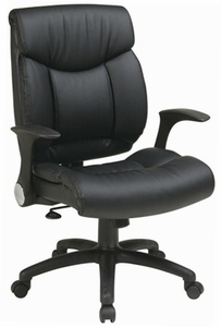 Work Smart Faux Leather Chair with Flip Up Arms [FL89675]