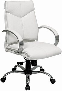 Office Star Mid Back White Leather Desk Chair 7271|Office Chairs ...